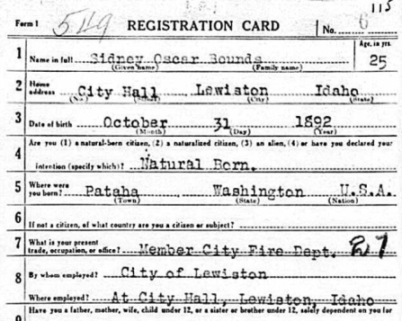 Sidney Oscar Bounds WW1 Draft Card